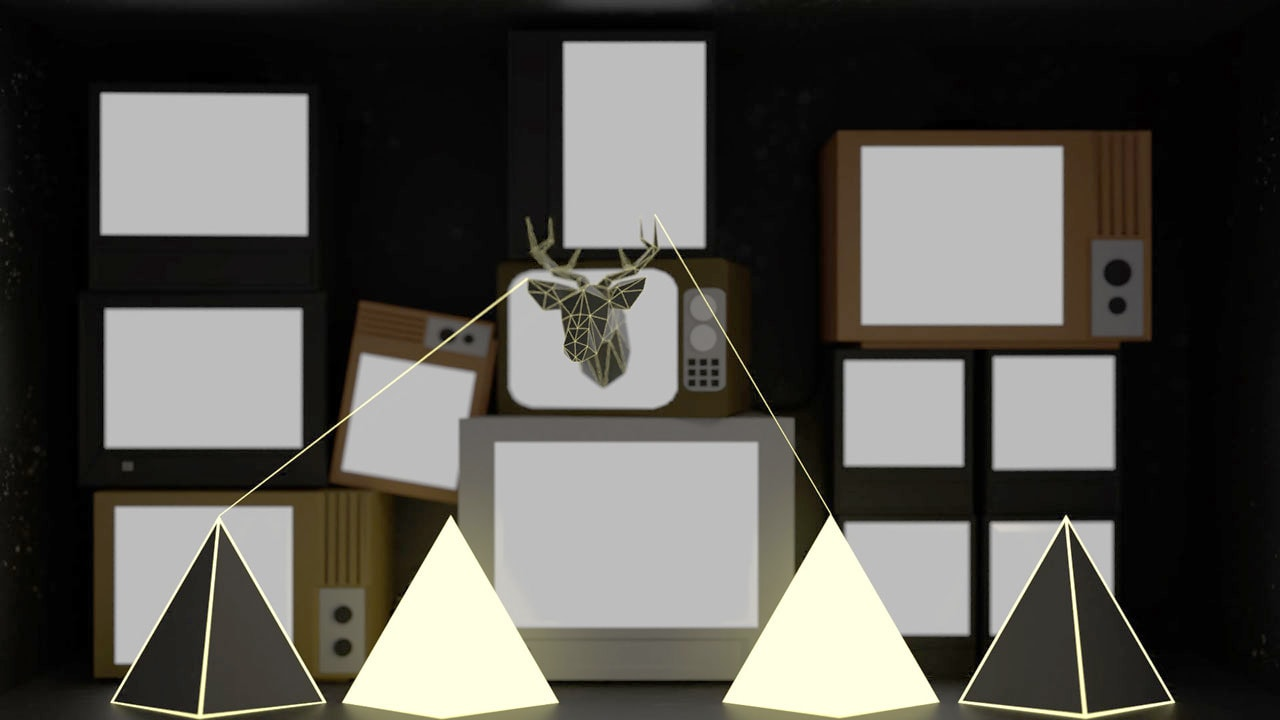 Bright and dark tetrahedrons with yellow lines and deer head in front of TV wall.