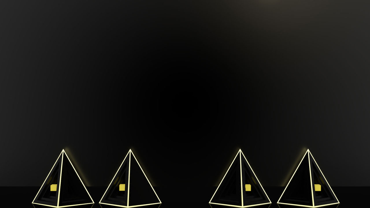 Black tetrahedrons with yellow outlines and yellow cubes on dark background.