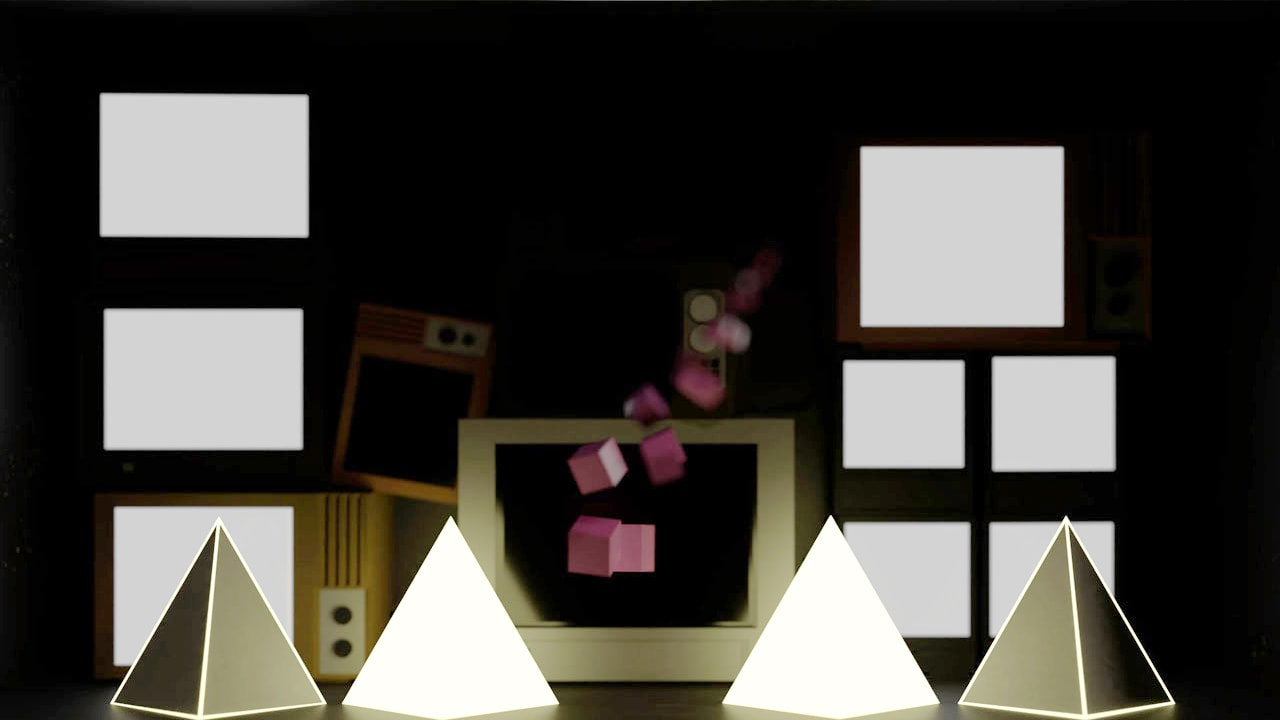 Bright and dark tetrahedrons with yellow outlines and pink abstract structure in front of TV wall.